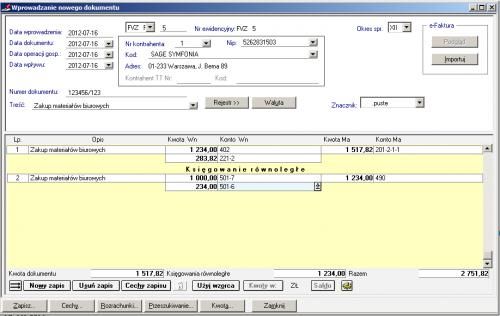 001 – Wprowadzenie dokumentu kosztowego bez podziału na rodzaj kosztu w zespole 5