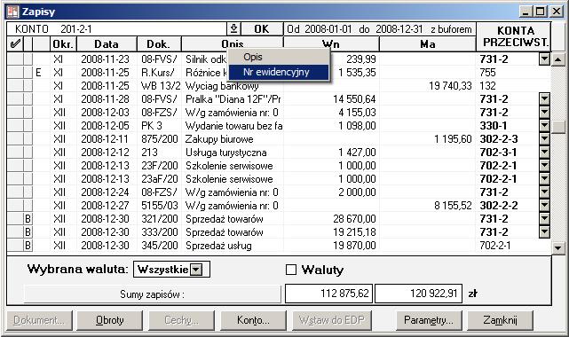Raporty - Zapisy konta - Symfonia Finanse i Księgowość
