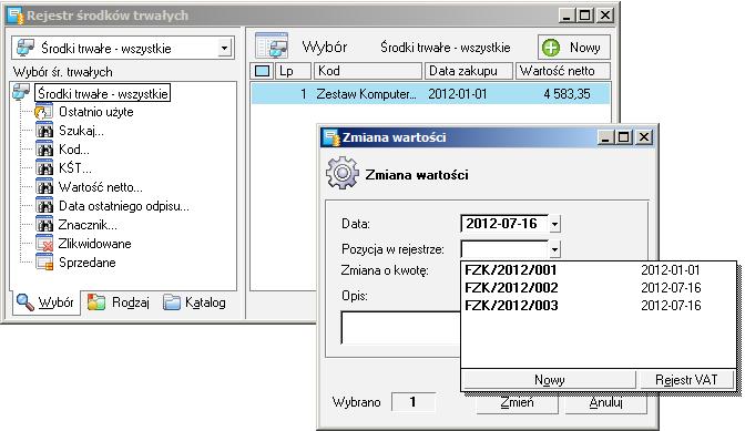 Wybór konkretnej wartości za pomocą przeglądania rejestru