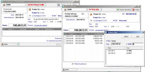 Okno z nierozliczonymi transakcjami dla danego rejestru kasowego - BANK