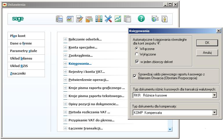 001 - Zmiana parametrów tworzenia automatycznych księgowań równoległych.