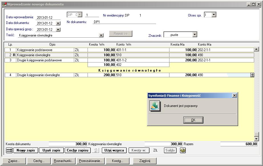 003 - Możliwości sterowania księgowaniami równoległymi