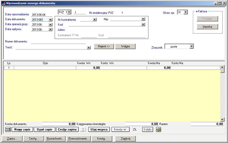002 – Formatka dokumentu zakupu