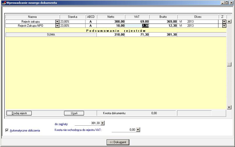 008 – Poprawnie wypełniony rejestr VAT