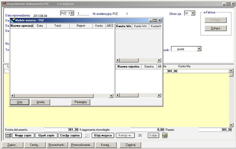 009 – Wzorce księgowe przy powrocie z formatki VAT do dokumentu