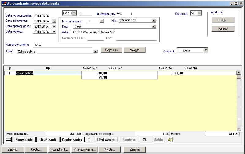010 – Przepisane kwoty z rejestru do dokumentu