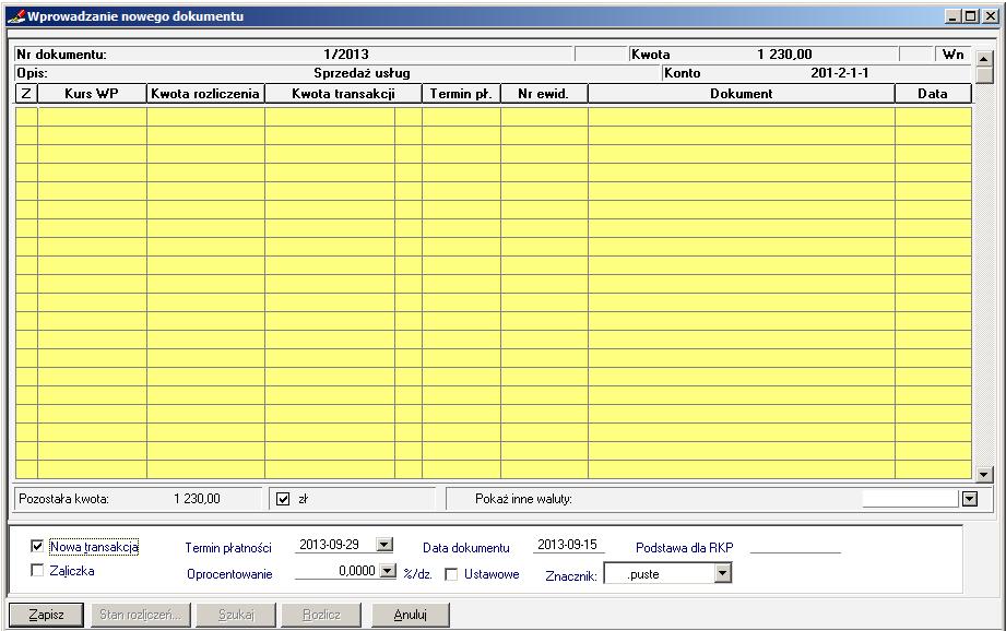 001 – Rozrachunek w dokumencie Faktura VAT Sprzedaż