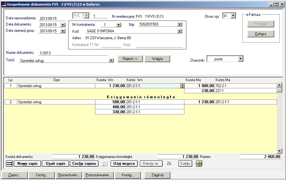 011 – Zmiana księgowania dokumentu – pozbycie się zbędnej obrotówki i transakcji
