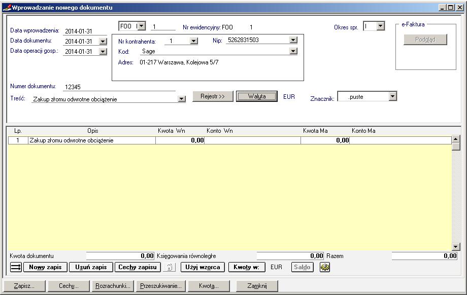 004 – Wypełnione dane nagłówkowe dokumentu Odwrotne Obciążenie w walucie