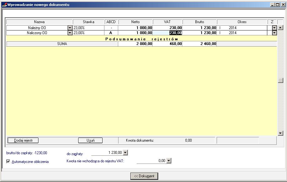 005 – Poprawnie uzupełniony rejestr VAT w dokumencie Odwrotne Obciążenie