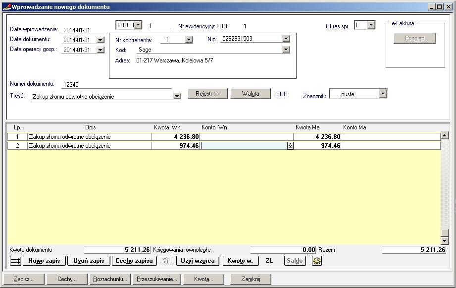 009 – Dekretacja po poprawnym uzupełnieniu rejestru VAT