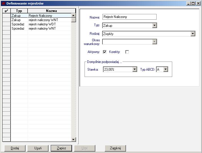 001 - Definiowanie rejestru naliczonego VAT