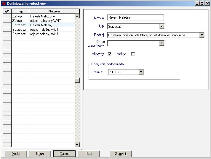 002 – Definiowanie rejestru należnego VAT