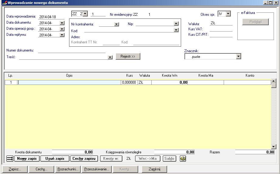 004 – Formatka dokumentu specjalnego