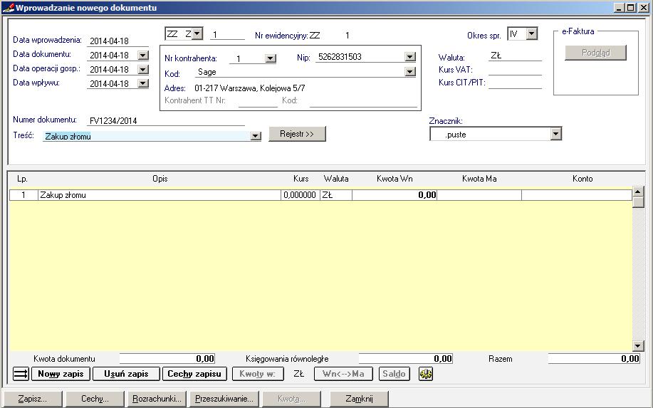 005 – Wypełnione dane nagłówkowe dokumentu