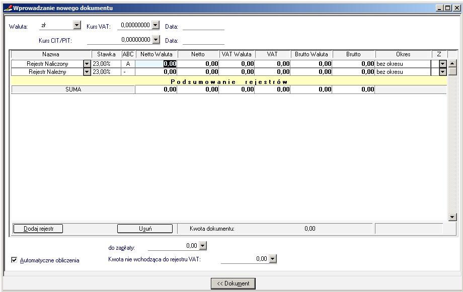 006 – Formatka rejestru VAT