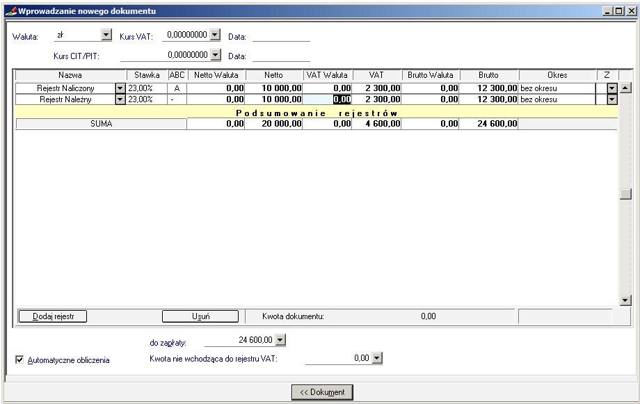 007 – Wypełniona formatka rejestru VAT dla PLN