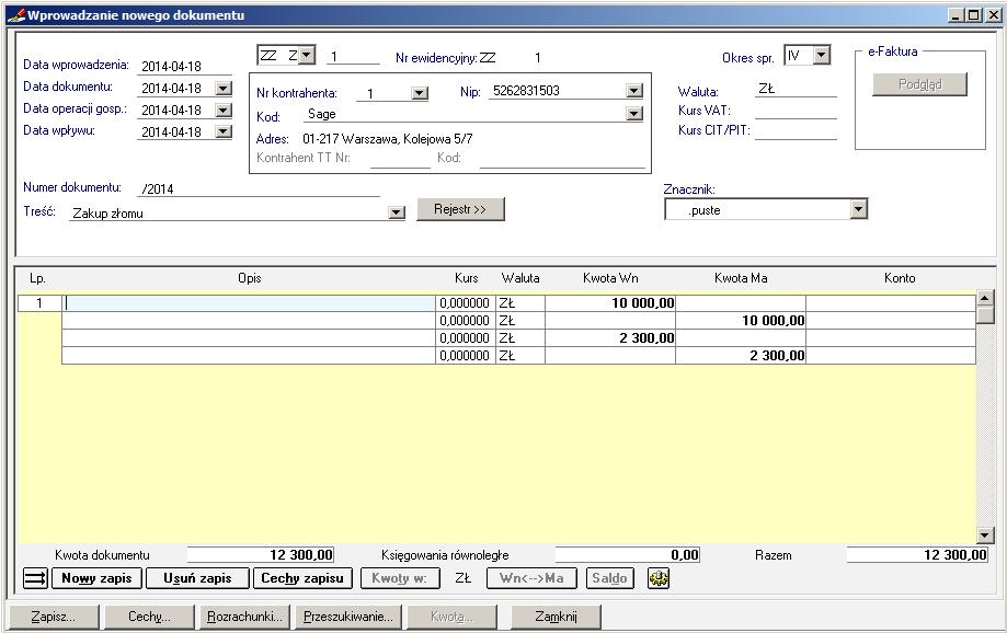 008 – Dokument po przepisaniu kwot z rejestru VAT