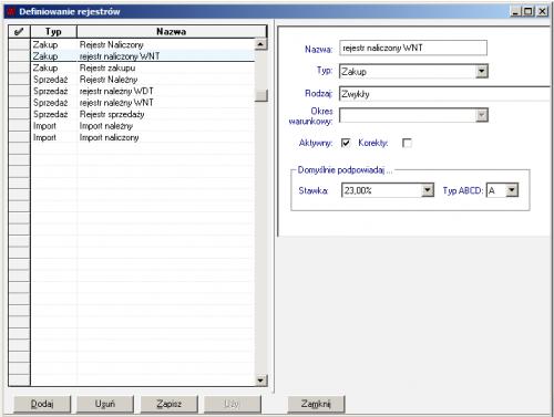 002 – Definicja rejestrów VAT – rejestr naliczony WNT