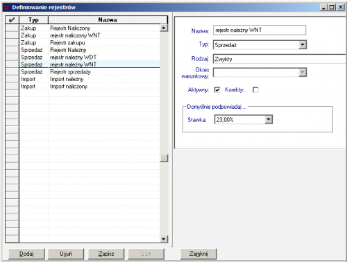 003 – Definicja rejestrów VAT – rejestr należny WNT
