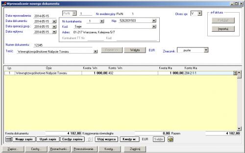 005 – Tak wyglądałaby poprawnie wprowadzona faktura nabycia FWN