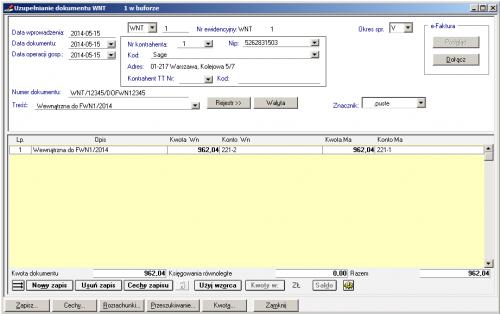 006 – Tak wyglądałaby poprawnie wprowadzona faktura wewnętrzna WNT - Dekretacje