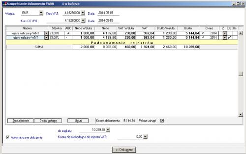 011 – Wprowadzanie FWN – Rejestr VAT