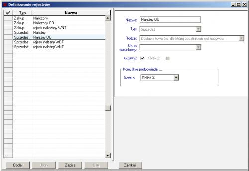 001 – Konfiguracja rejestrów VAT