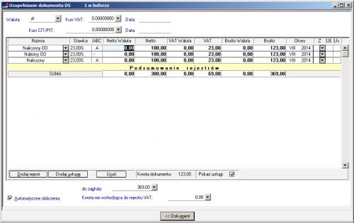 003 – Wypełnienie formatki rejestru VAT