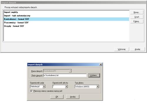009 – Konfiguracja parametrów importu