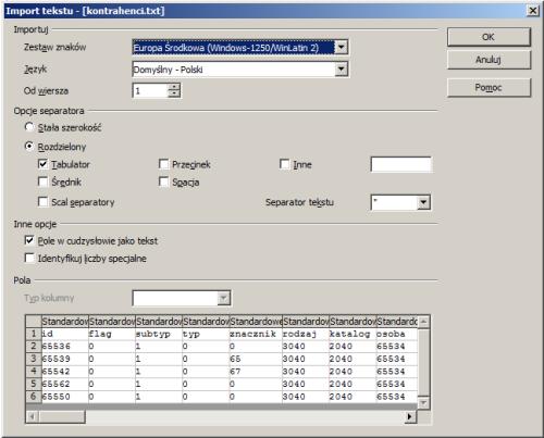014 – A tak wygląda import do arkusza – zwróćcie uwagę na kodowanie znaków w imporcie